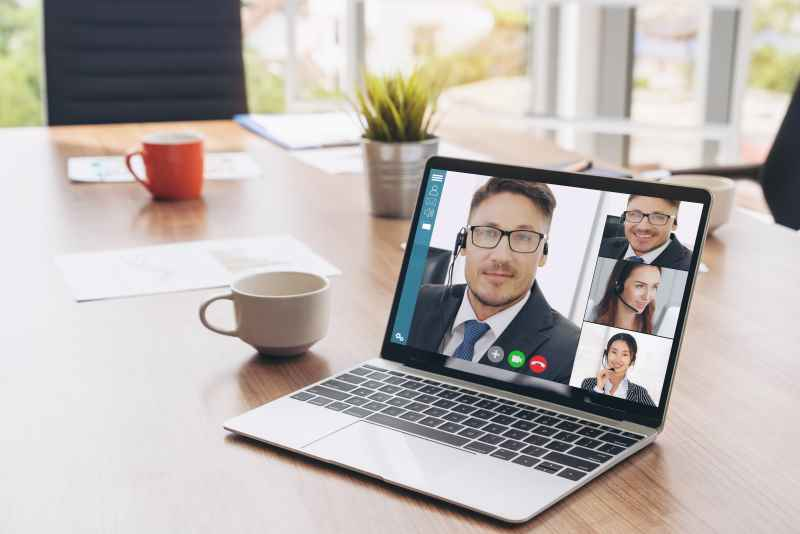 virtual meeting on laptop