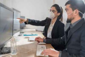 wearing masks on computers